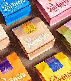 coffee branding Beloved Brooklyn Coffeemakers Rebrand As Partners Coffee Food Packaging Design, Packaging Design Inspiration, Brand Packaging, Bottle Packaging, Coffee Packaging, Coffee Branding, Chocolate Packaging, Collateral Design, Branding Design