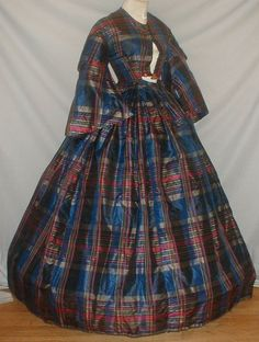 Vivid 1860's Blue Red Plaid Silk Vintage Dress | eBay