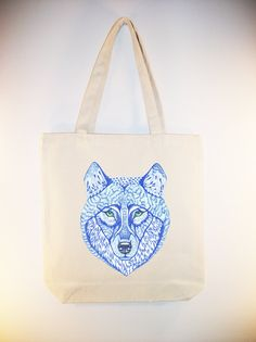 Blue Wolf  -- (ARTIST OLA LIOLA) on 15x15 Canvas Tote with shoulder strap - larger Zip Top Tote Style and Personlization Available