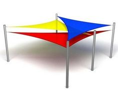 Pool stage shade structure design idea: Overlapping Triangle Shade Sail, grass patch in pool area