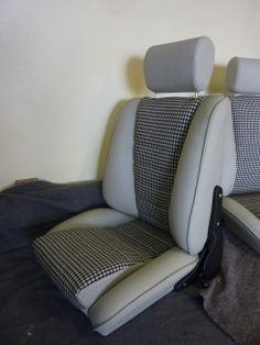 our 'Sport S' seats in smoke leather w houndstooth centers.Remake of the Recaro Ideal.Classic Car Seats by GTS classics.