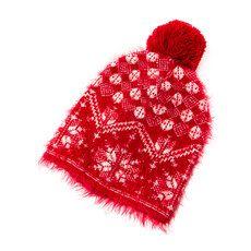 Red Fuzzy Fair Isle Knit Beanie