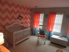 Coral, Gray and Aqua designer crib nursery bedding, window panels.  Made to order.  baby girl