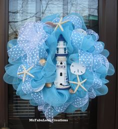 Sky Blue Lighthouse Deco Mesh Door Wreath