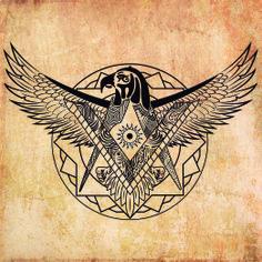 Ilustración Digital para cliente! Unión de Águila Egipcia, Ojo de Horus - Compás y escuadra y sol egipcio!