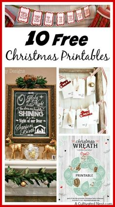 Free Christmas Printables! Use these to decorate your home easily and inexpensively! So pretty! Printable Christmas art and Christmas banners included!