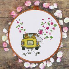 ThuHaDesign Just Married wedding cross stitch pattern modern cute funny design easy