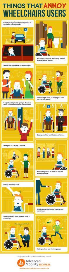 Las cosas que molestan a los usuarios en silla de ruedas #infographic #Health  >>> See it. Believe it. Do it. Watch thousands of spinal cord injury videos at SPINALpedia.com