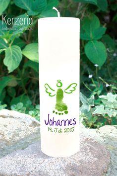 Taufkerzen - Eigener Fußabdruck Taufkerze mit Engel - ein Designerstück von Kerzeria bei DaWanda