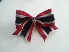 red white and black glitter soccer bow clip by MiaBowPeepsBowtique, $6.00