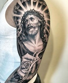 Jesus Tattoos - Tons of Jesus Tattoo Designs & Ideas - Tattoo Me Now Jesus Tattoo Sleeve, Arm Sleeve Tattoos, Tattoo Sleeve Designs, Jesus Tatoo, Dope Tattoos, Body Art Tattoos, Tattoos For Guys, Catholic Tattoos, Religious Tattoos
