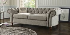 Buy Gosford Buttoned Medium Sofa (3 Seats) Tweedy Weave Dove Turned Standard | Next
