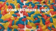 Scopri com'è semplice colorare il riso. Il riso colorato è perfetto per fare giochi sensoriali oppure per fare lavoretti con i bambini
