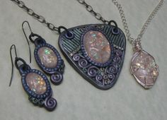 March #PavelkaProject Faux opal pendants and earrings. by Laurie Grassel