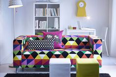 KLIPPAN loveseat - a comfy and colorful sofa is the perfect place to chill after class.