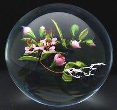 "MAYAUEL WARD Cherry Blossom Flowers Art Glass 2006 Paperweight,Apr 3""Hx2.75""W"