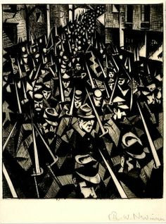 British painter and printmaker C R W Nevinson was born onthisday in He's best known for the harrowing works he made as an official war artist during the First World War Architecture Tattoo, Art And Architecture, World War One, First World, Ww1 Art, Prisoners Of War, Art Uk, Military Art, British Museum