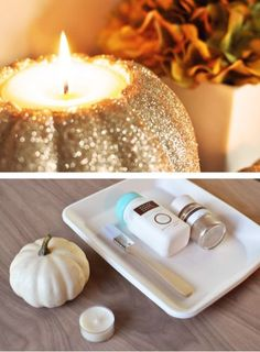 Glittered pumpkin tea light DIY