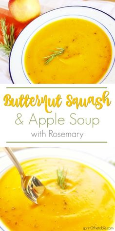 butternut squash soup This Butternut Squash & Apple Soup with Rosemary is made with simple fall ingredients. It's a creamy, naturally rich blend of sweet and savory flavors! Spicy Recipes, Soup Recipes, Chili Recipes, Fall Recipes, Vegan Recipes, Butternut Squash Soup Creamy, Spaghetti Squash Soup, Soup And Salad, Carne