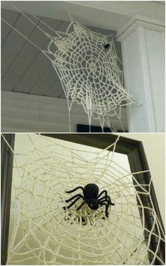 Crocheted spider web