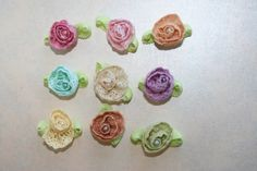 Lace Flowers Set of 9  Vintage Lace Rosettes Pastel FlowersPerfect for Newborn Hair Clips Baby Girl Headbands. $6.00, via Etsy.