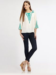 177 Parker - Triangle Embroidered Top - Saks.com