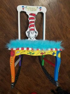Dr Seuss Chair Dr Seuss Chairs, Teacher Chairs, Unique Furniture, Upcycled Furniture, Daycare Crafts, Dr Suess, Painted Chairs, Red Fish, Mason Jar Crafts