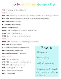 a daily summer schedule for home.  I like this schedule, but definitely had to alter it a little to meet our needs.