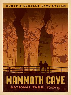 Mammoth Cave National Park - Anderson Design Group has created an award-winning series of classic travel posters that celebrates the history and charm of America's greatest cities and national parks. Founder Joel Anderson directs a team of talented Nashville-based artists to keep the collection growing. This print celebrates the other-worldy wonder of Mammoth Cave National Park.