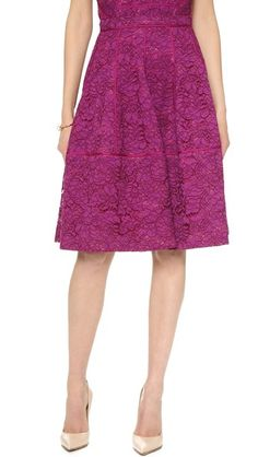 Pretty idea for an outfit - shown with a matching vest/peplum top in the same lace.  J. Mendel Godet Skirt