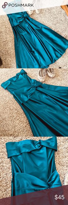 Jewel Tone Blue Formal Ballgown Prom Dress The pictures don't do the color justice, but this full length gown has gorgeous blue/green jewel tones. Simple design, very flattering with boning in the bodice. Dress was hemmed to fit me at 5' with heels on. Back is slightly longer than the front. Jessica McClintock Dresses Prom