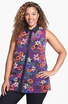 Evans Tropical Print Blouse (Plus Size) available at #Nordstrom