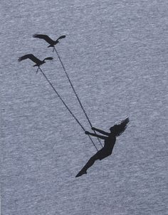 Flying bird swing- women's scoop track t shirt american apparel- heather gray- available in S, M, L , XL WorldWide Shipping. $19.99, via Etsy.