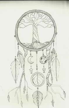 The tree would be a little different with the sun and moon hanging, but I most definitely want a dream catcher.