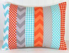 Pillow Cover  12 x 16 Inches  Aqua Blue Orange by theredpistachio, $22.50