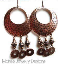 Bohemian Copper hammered hoops, copper beads. Dangle earrings. Copper jewelry