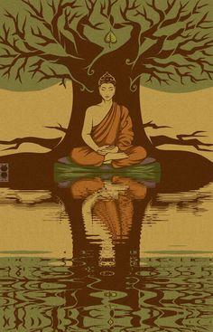 painting of buddha under the bodhi tree Lotus Buddha, Art Buddha, Buddha Kunst, Buddha Painting, Buddha Buddhism, Buddha Artwork, Buddha Zen, Gautama Buddha, Zen Meditation