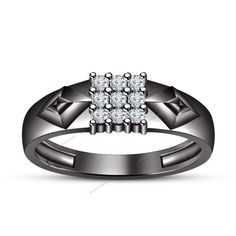 Specially Men's Nine Stone Band Ring 0.91 CT Brilliant Round Simulated Diamond…