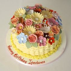 Valentines Fruit Basket Uk. BASKET OF FLOWERS BUTTERCREAM CAKE BC4566  Panari Cakes