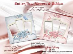 """Flowers Butterfly Ribbon on Craftsuprint designed by June Young - Two quick pages - one blue one pink - featuring triple apertures for your photos/artwork and embellished with toning flowers, ribbon and a butterfly. hese are 12"""" x 12"""" 300dpi .png files. Commercial use is ok including for work you are selling on CUP. They can be used for scrapbooking or card-making as you wish.  - Now available for download!"""