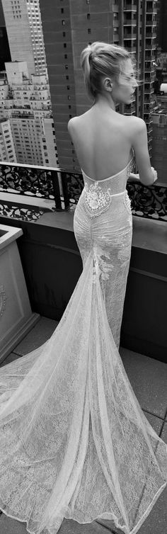 Inbal Dror 2016 backless mermaid lace bridal gown / http://www.himisspuff.com/open-back-wedding-dresses/12/