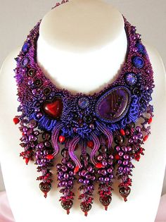 Love Lies Bleeding  Beaded Collar Necklace by LaurenElise on Etsy