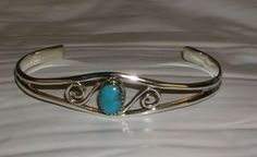 """Sterling Silver Genuine Turquoise Petite Cuff Bracelet fits up to 7"""" wrists"""