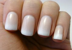 top 25 fantastic french Nails Art DesignsFrench manicures ar a well-liked trend among girls in America nowadays. And for glorious reason – the French manicure is extremely universal, and is just as acceptable for jeans and t-shirts because it may be French Nails Acryl, French Nail Art, Wedding Nails For Bride, Bride Nails, Faded French Manicure, Shellac French Manicure, French Manicure With A Twist, Garra, How To Do Nails