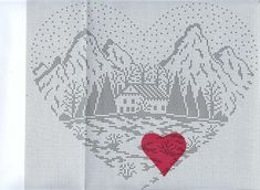 Cross stitch pattern, mountain cottage.