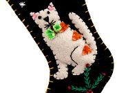 Handmade Felt Applique Kitty Stocking! Handmade with 100% wool felt and traditional stitching methods
