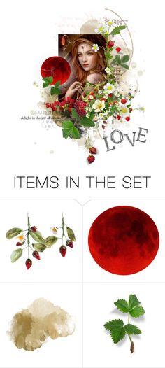 """Happy Solstice and Strawberry Moon"" by sharmarie ❤ liked on Polyvore featuring art"