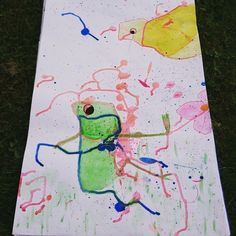 A nice frog gets out in the open while his surroundings is created. Acrylic on paper
