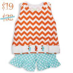 Swoon! Love this Orange Chevron Aqua Dot Seahorse Smock Ruffle S... I discovered at lollywollydoodle.com and for only $19! Click the image above to get a $5 off coupon code for your next order!