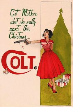 Vintage Ad Parody Colt for Christmas artwork by by joellejonesart .I ask: Parody? Maybe the dress and heels on Christmas morning.